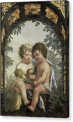 Christian Allegory With Two Children Both Pouring Canvas Print by Litz Collection