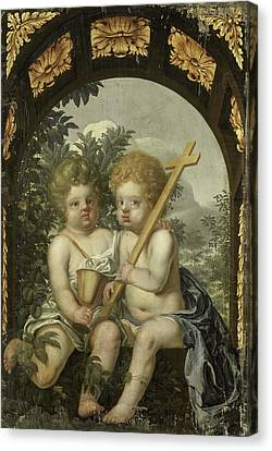 Christian Allegory With Two Children With Cross And Chalice Canvas Print by Litz Collection
