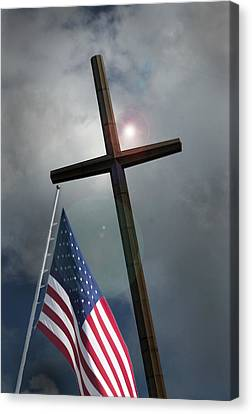 Canvas Print featuring the photograph Christian Cross And Us Flag by Bob Pardue