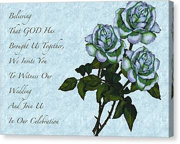 Christian Wedding Invitation With Roses Canvas Print by Joyce Geleynse