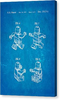 Christiansen Lego Figure 3 Patent Art 1979 Blueprint Canvas Print