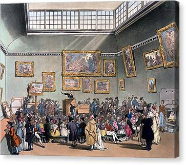 Christies Auction Room, Illustration Canvas Print by T. & Pugin, A.C. Rowlandson