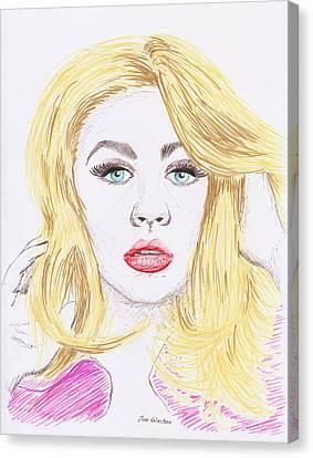 Christina Aguilera Sketch Canvas Print by M Valeriano