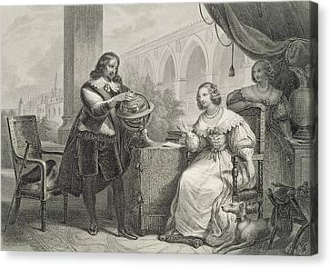 Ladies In Waiting Canvas Print - Christina Queen Of Sweden by Charles Abraham Chasselat
