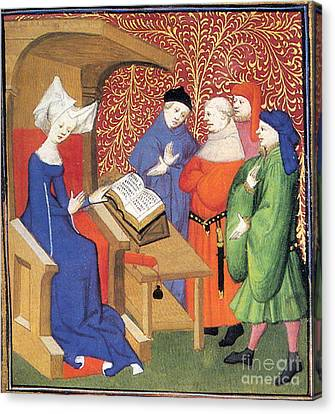 Christine De Pizan Lecturing To Men Canvas Print by Photo Researchers