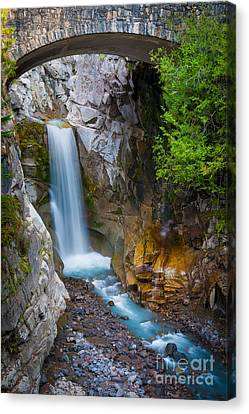 Christine Falls And Bridge Canvas Print by Inge Johnsson