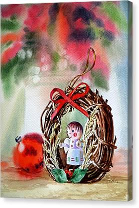Decorated For Christmas Canvas Print - Christmas Angel by Irina Sztukowski
