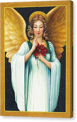 Poinsettias Canvas Print - Christmas Angel by Lynn Bywaters
