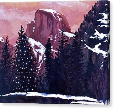 Christmas At Half Dome Canvas Print by Sara Coolidge
