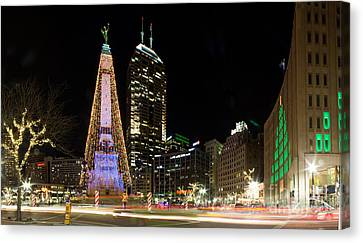 Christmas At Monument Circle Canvas Print by Twenty Two North Photography