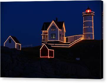 Christmas At Nubble Canvas Print by Andrea Galiffi