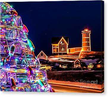 Christmas At Nubble Light Canvas Print by Scott Moore