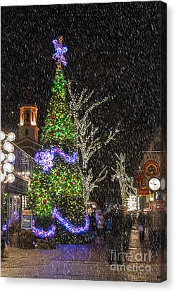 Christmas At Quincy Market Boston Canvas Print by Juli Scalzi