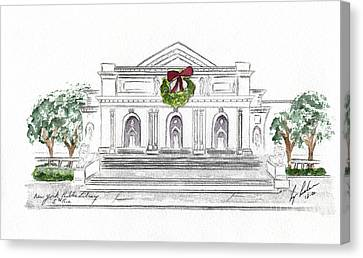 Public Holiday Canvas Print - Christmas At The New York Public Library by AFineLyne