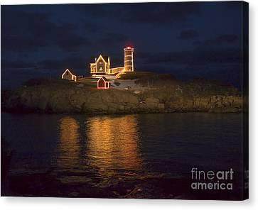 Nubble Lighthouse Canvas Print - Christmas At The Nubble by Steven Ralser