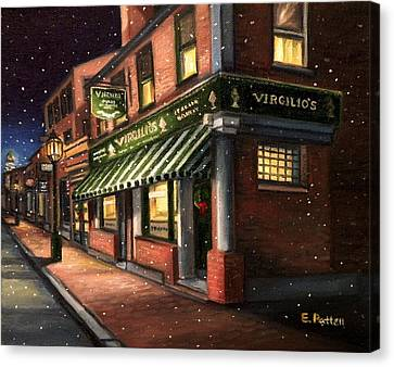 Christmas At Virgilios Canvas Print by Eileen Patten Oliver