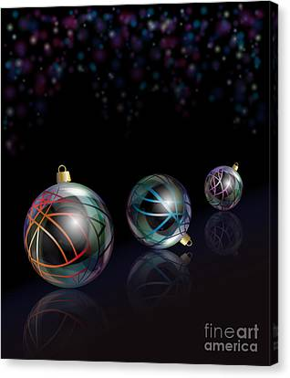 Christmas Baubles Reflected Canvas Print by Jane Rix