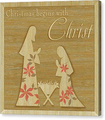 Christmas Begins With Christ Canvas Print by P.s. Art Studios