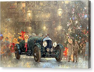 Christmas Cards Canvas Print - Christmas Bentley by Peter Miller