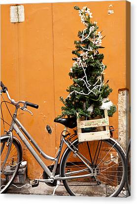 Christmas Bicycle Canvas Print by Rae Tucker