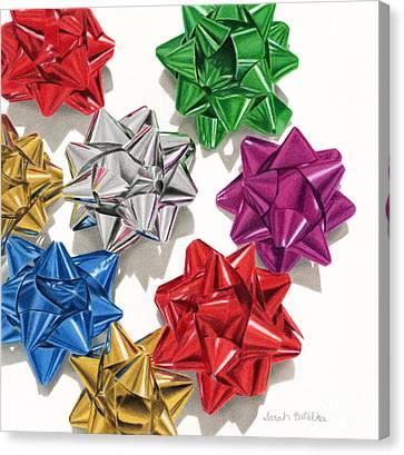 Christmas Bows Canvas Print by Sarah Batalka