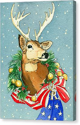 Christmas Buck Canvas Print by Katherine Miller