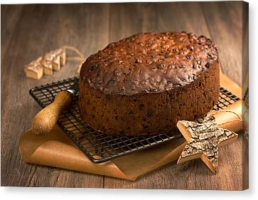 Christmas Cake With Knife Canvas Print by Amanda Elwell