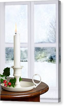 Snow Scene Canvas Print - Christmas Candle by Amanda Elwell