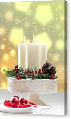 Christmas Candle Decoration Canvas Print by Amanda Elwell