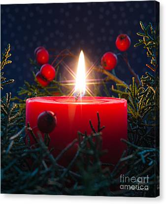 Christmas Candle Canvas Print by Pat Lucas