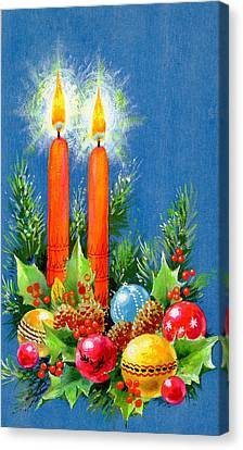 Christmas Candles Canvas Print by Stanley Cooke