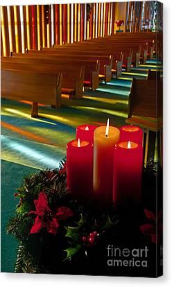 Christmas Candles At Church Art Prints Canvas Print by Valerie Garner