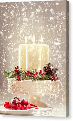 Candle Lit Canvas Print - Christmas Candles by Amanda Elwell