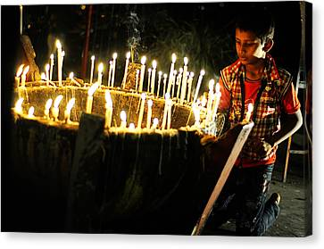 Christmas Candles Canvas Print by Money Sharma