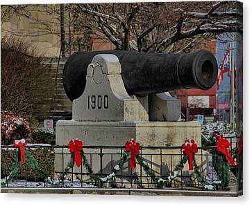 Snow Flag Canvas Print - Christmas Cannon by Dan Sproul
