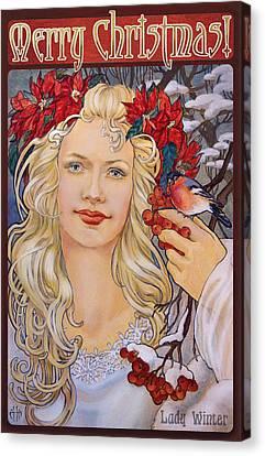Christmas Card Art Nouveau Style Canvas Print