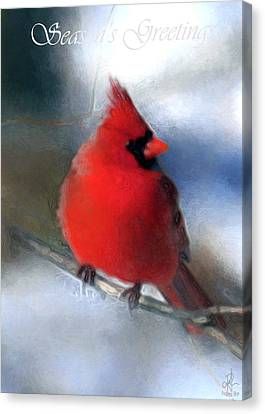 Canvas Print featuring the digital art Christmas Card - Cardinal by Pennie  McCracken