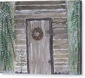 Christmas Card No.3 Rustic Cabin Canvas Print
