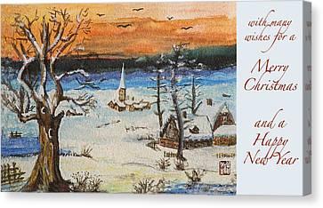 Christmas Card Painting Canvas Print