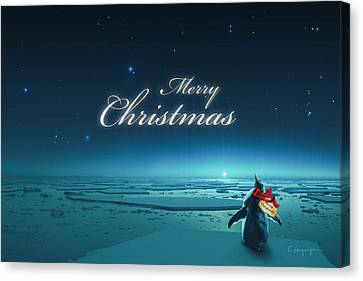 Tag Canvas Print - Christmas Card - Penguin Turquoise by Cassiopeia Art