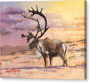 Christmas Caribou Canvas Print by Jeff Brimley