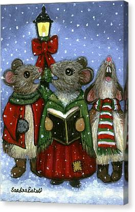 Christmas Caroler Mice Canvas Print