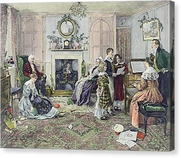 Christmas Carols Canvas Print by Walter Dendy Sadler