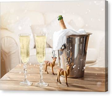 Christmas Champagne Canvas Print by Amanda Elwell