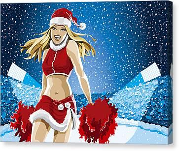 Christmas Cheerleader American Football Stadium Canvas Print by Frank Ramspott