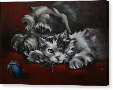 Canvas Print featuring the painting Christmas Companions by Cynthia House