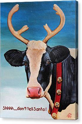 Christmas Cow Canvas Print by Laura Carey
