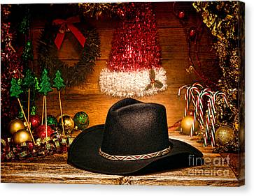 Christmas Cowboy Hat Canvas Print by Olivier Le Queinec