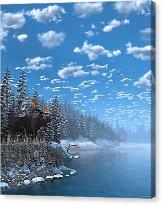Christmas Day At Moose Lake Canvas Print by Ken Morris