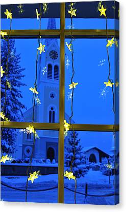 Christmas Decoration - Yellow Stars And Blue Church Canvas Print by Matthias Hauser